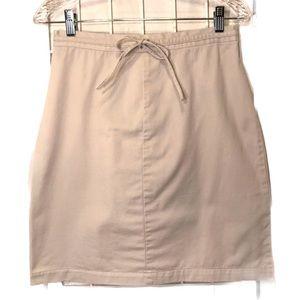 Tan Khaki Drawstring Cotton Chino Twill Skirt